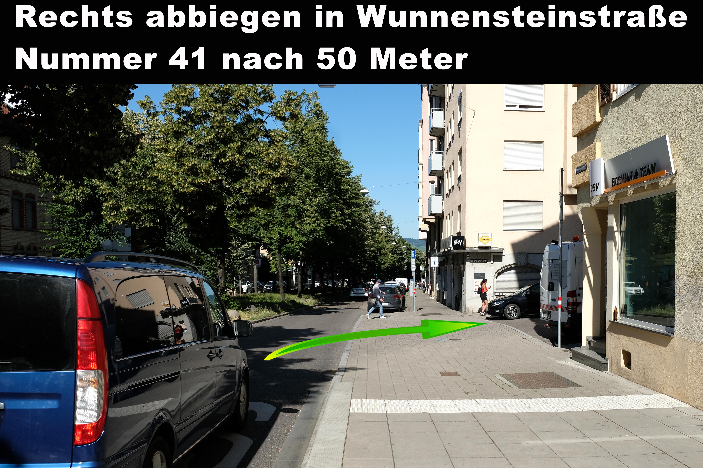 Wegbeschreibung, Anfahrt, Fachschule für Selbstverteidigung, Wunnensteinstr. 41, 70186, Stuttgart